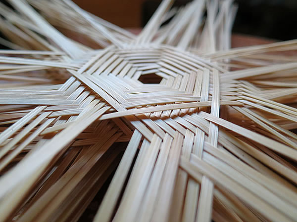 竹かご底編み