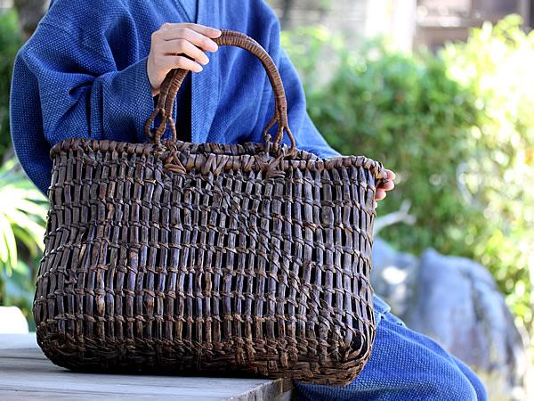 山葡萄手提げ籠バッグ棚編み