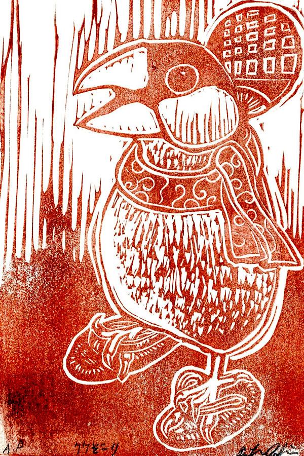 木版画の文鳥と竹皮草履
