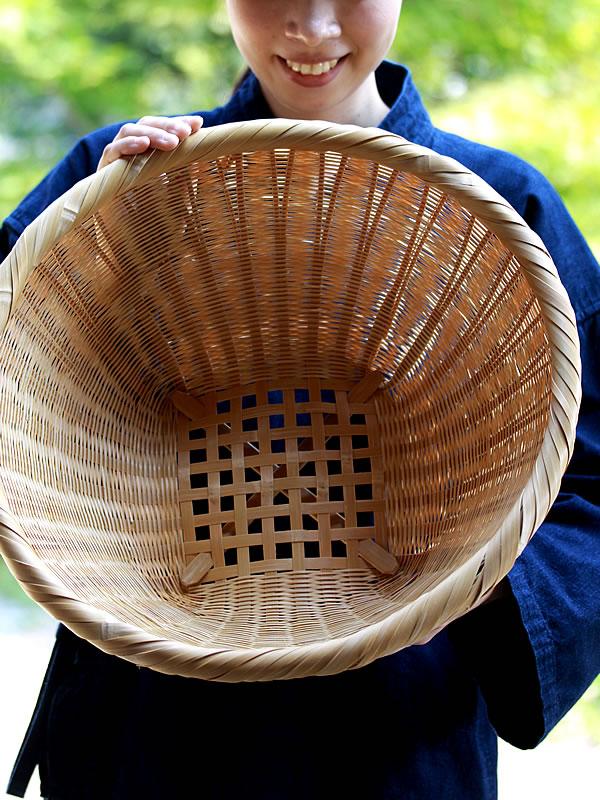 高足真竹かご