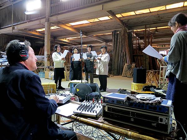 工場での竹虎の唄録音