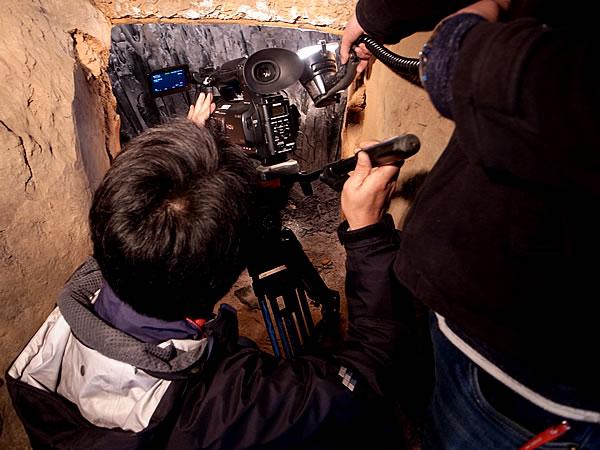 竹炭窯テレビ撮影