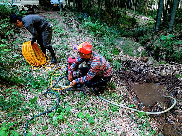 竹林での水源確保