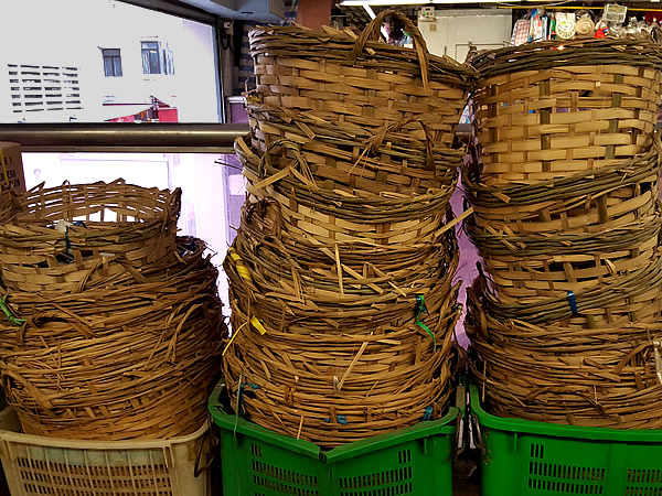 香港生鮮市場の竹籠