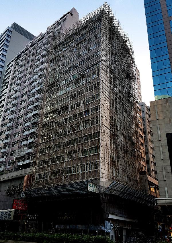 香港ビルの竹足場