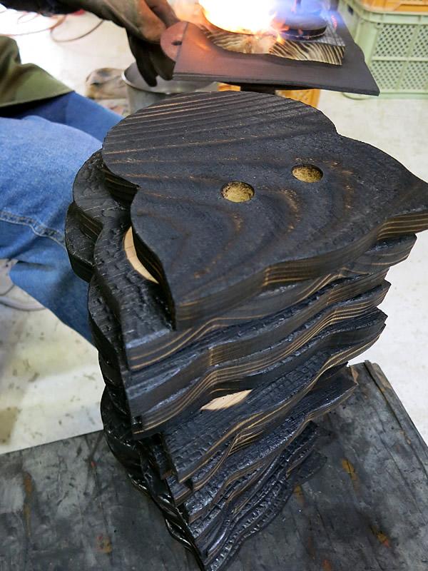 焼き杉鍋敷き製作工程