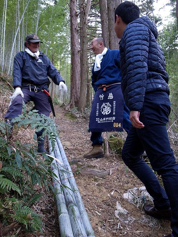 日本唯一の虎竹での山出し