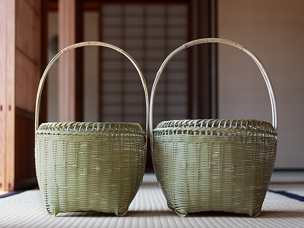 真竹磨き手提げ籠
