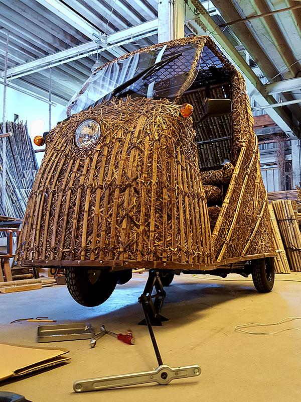 「日本唯一の虎竹自動車プロジェクト」竹トラッカー走行