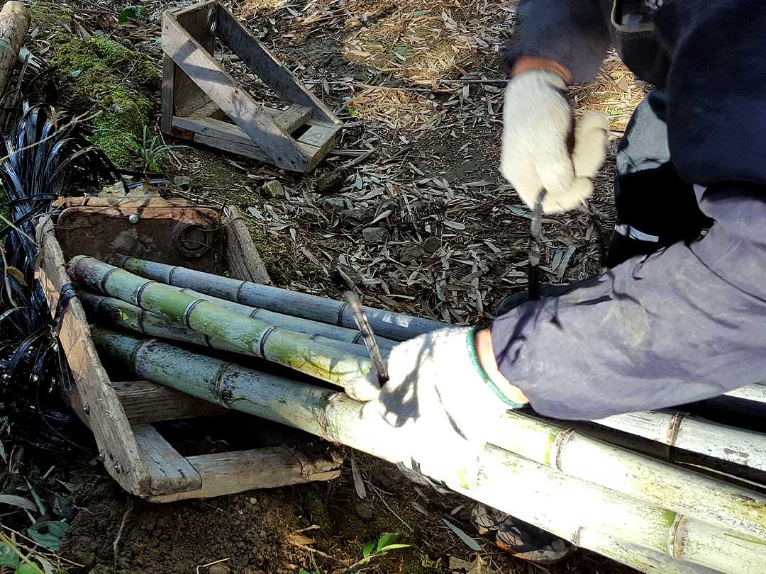 日本唯一の竹林にて山の職人