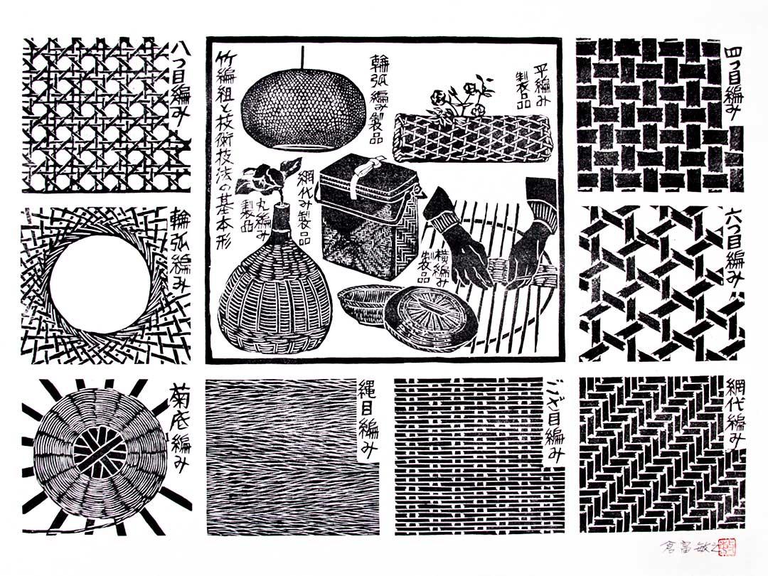 倉富敏之先生、竹編組と技術技法の基本形