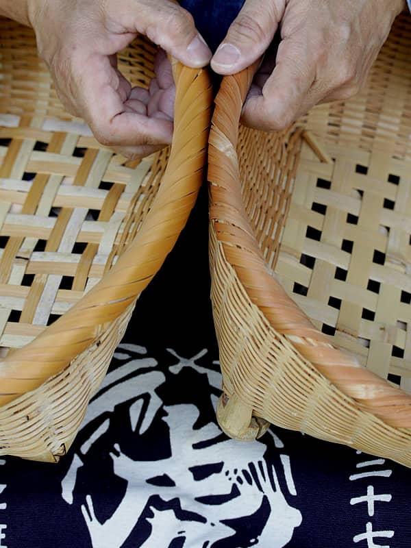 竹茶碗カゴの口巻