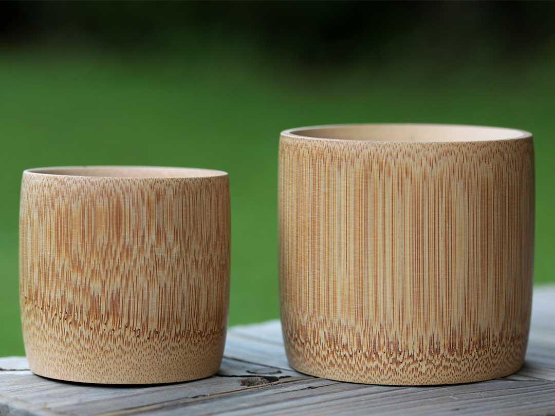炭化加工の竹ぐい呑み