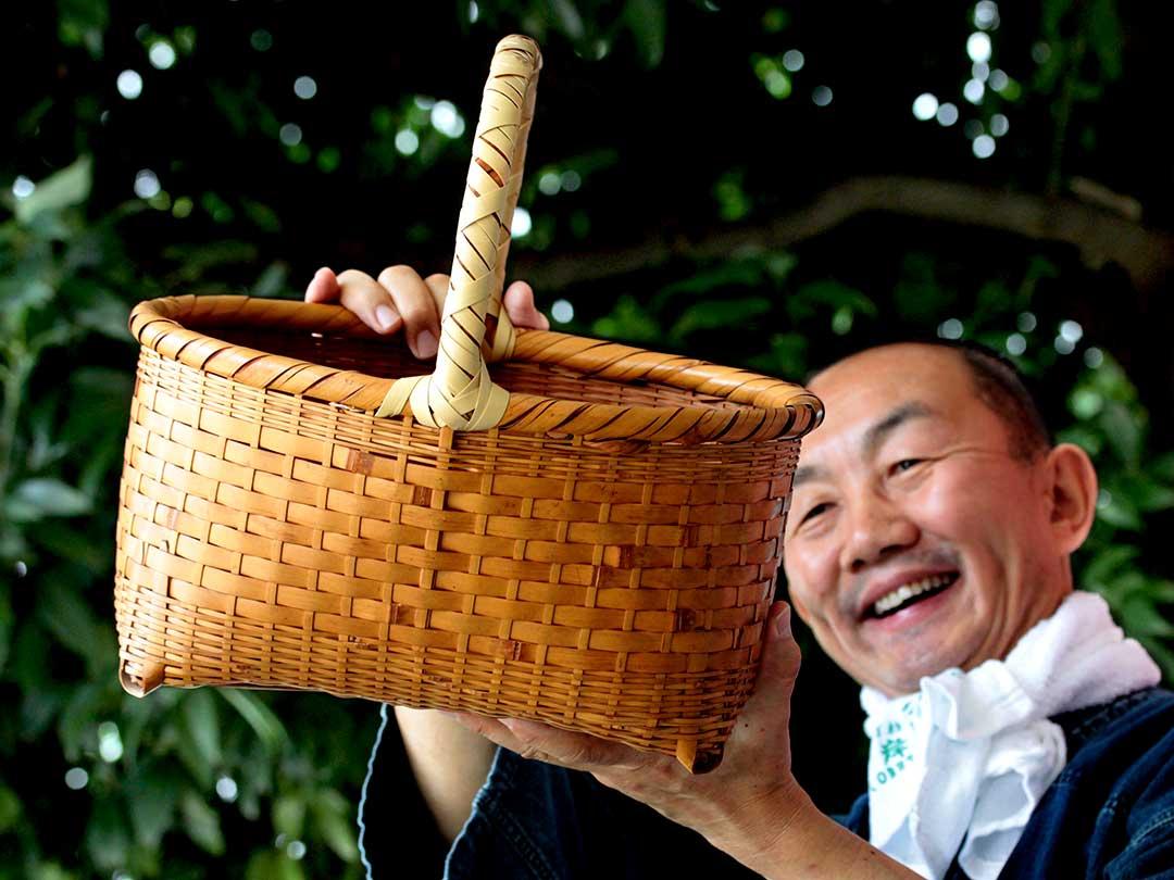 竹籠バックの持ち手