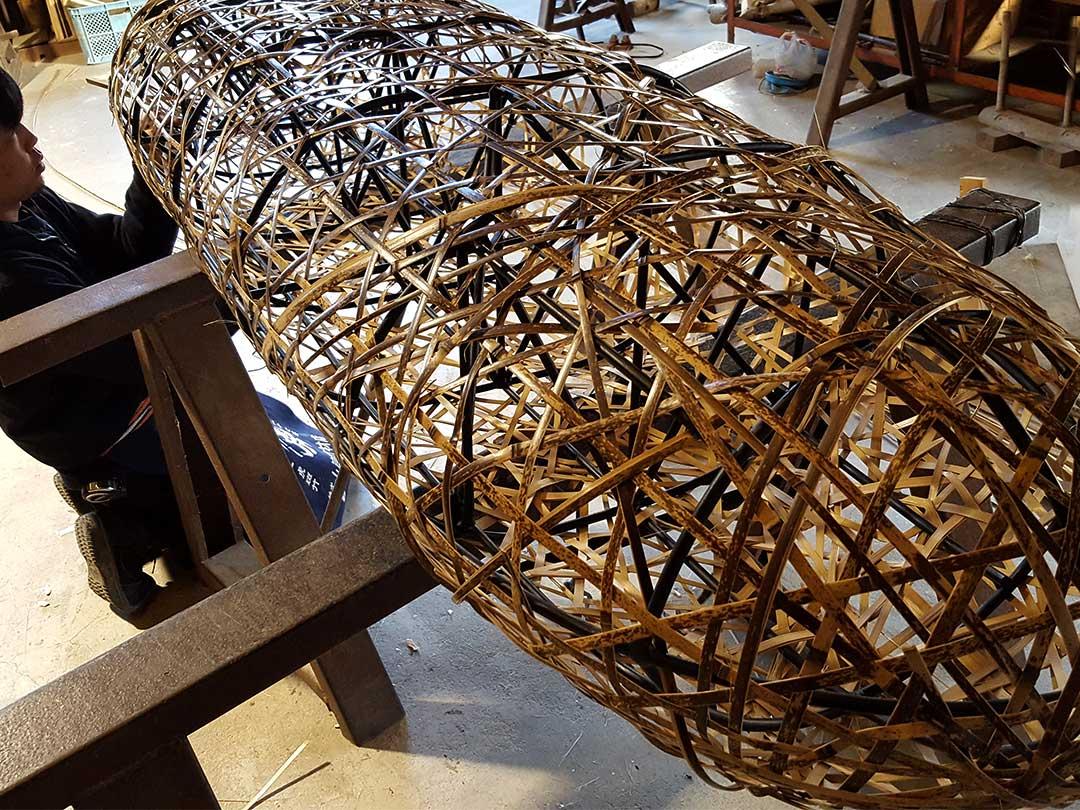 虎竹やたら編みソファベンチ