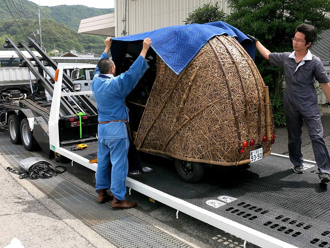 Tiger Bamboo car、日本唯一の虎竹電気自動車「竹トラッカー」積み込み