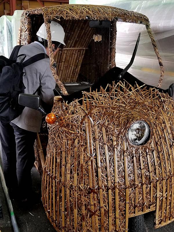 日本唯一の虎竹電気自動車「竹トラッカー」Tiger Bamboo car