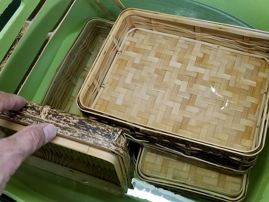 竹製品の熱湯処理
