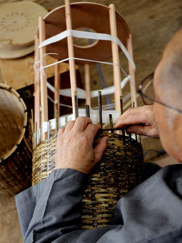 虎竹ゴミ箱職人製作