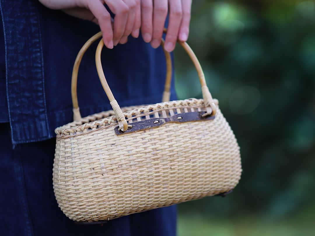 籐編み手提げ籠バック