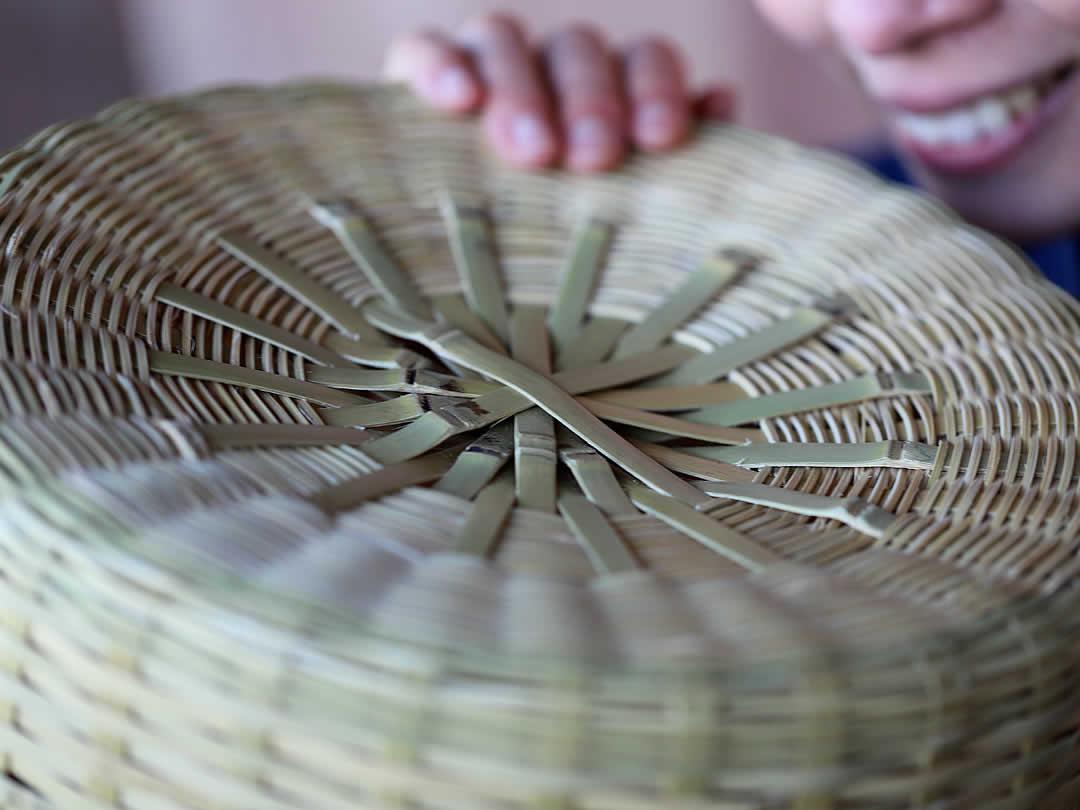 菊底編み、白竹ゴミ箱