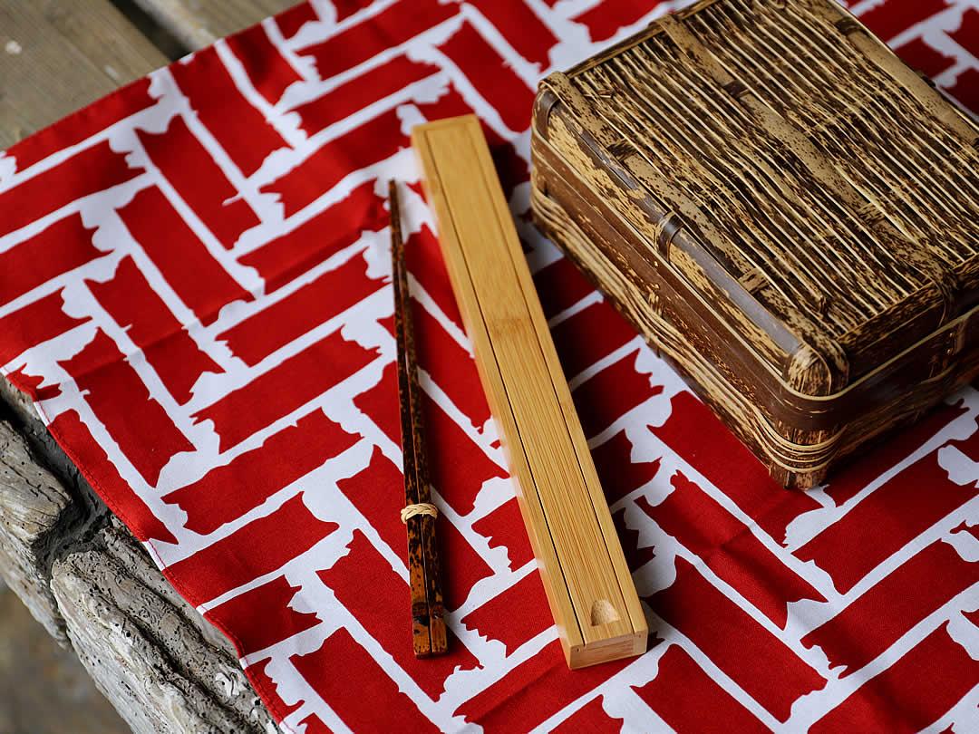 竹弁当用網代模様風呂敷