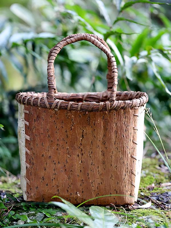 キハダ、胡桃手提げ買い物籠バッグ