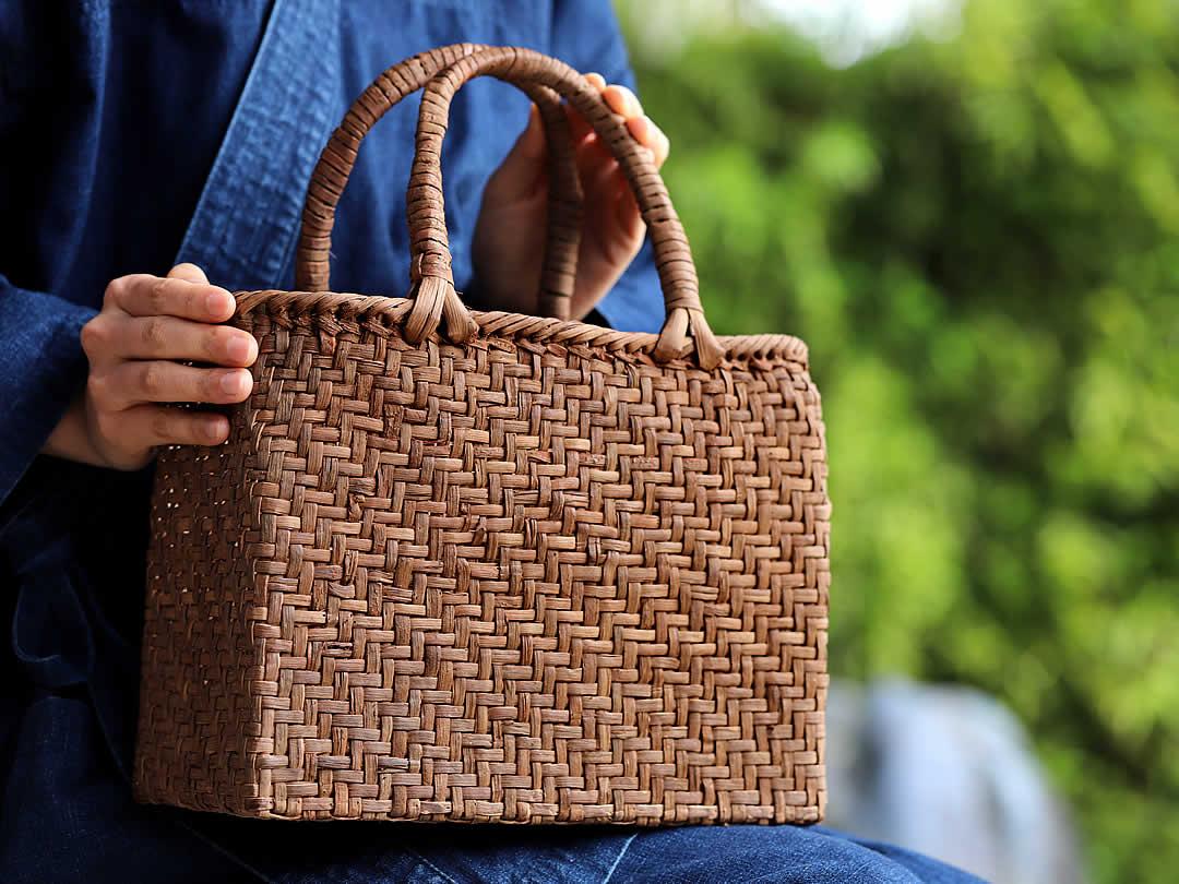 山葡萄手提げ籠バッグ網代編み