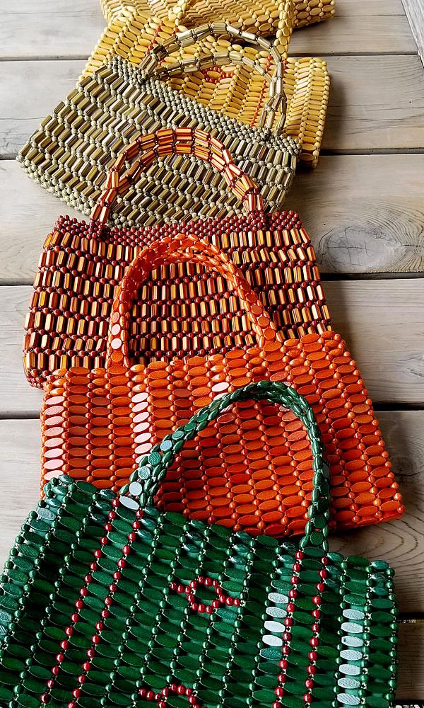 竹ビーズハンドバッグ