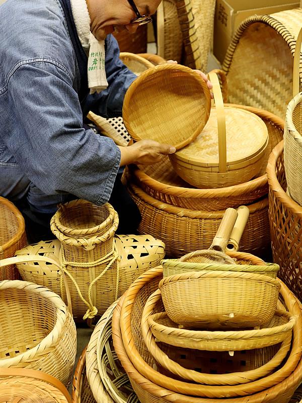 竹虎四代目(山岸義浩)、竹籠、竹細工、竹ざる