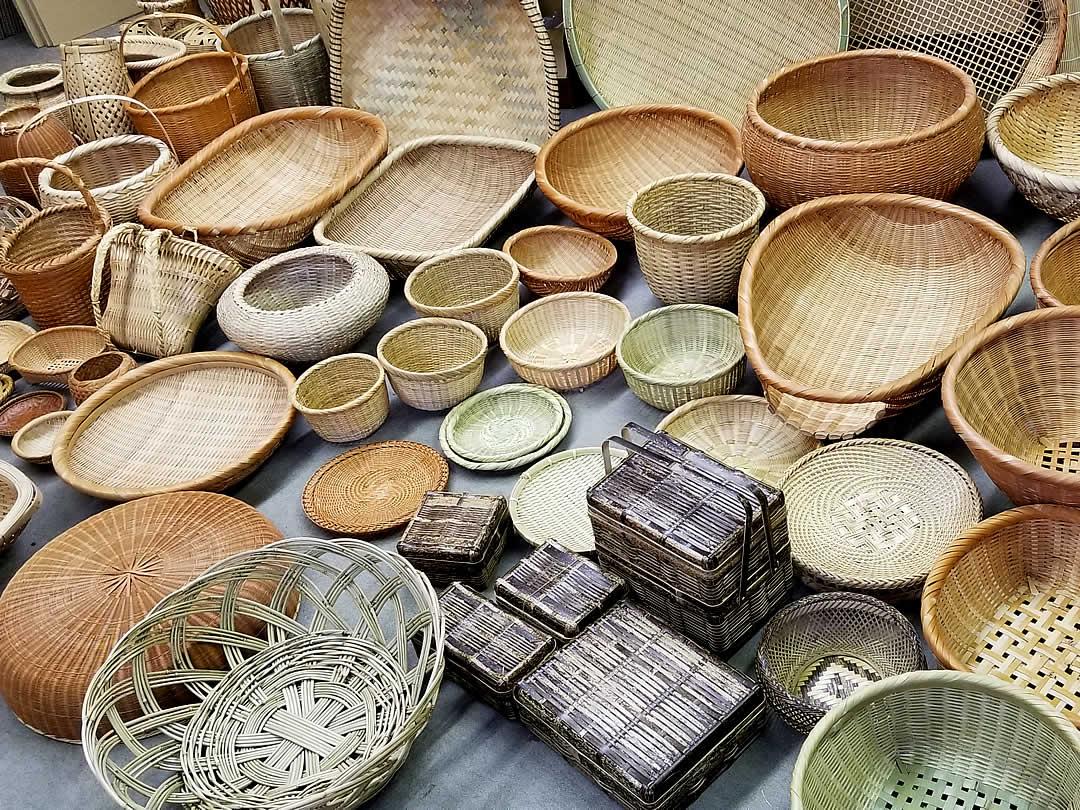 パリ展示用竹籠、竹ざる