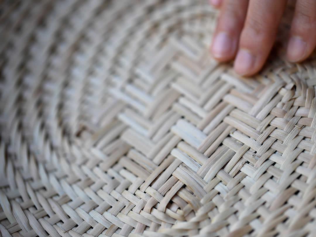 マタタビ蕎麦ざる底編み