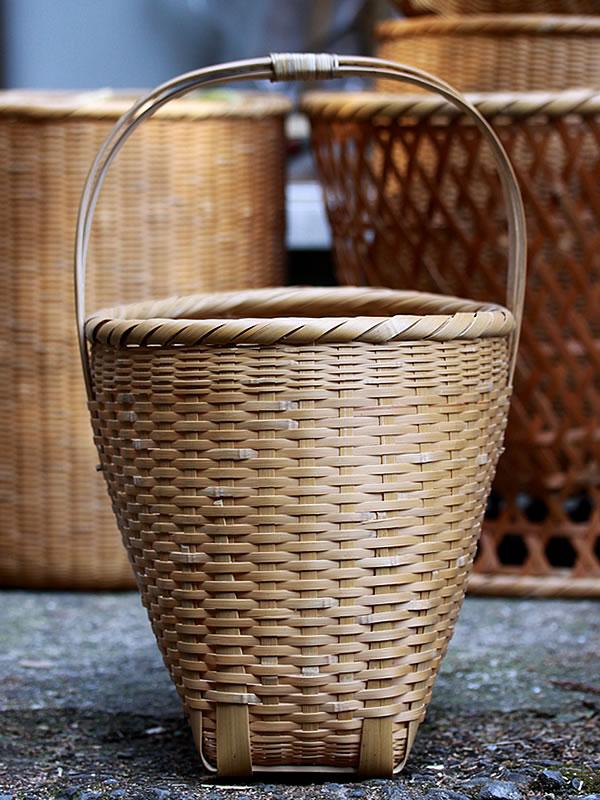 手提げ籠バッグ、竹籠、竹細工、竹ざる