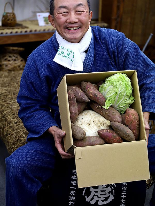 竹職人さんから野菜の贈り物