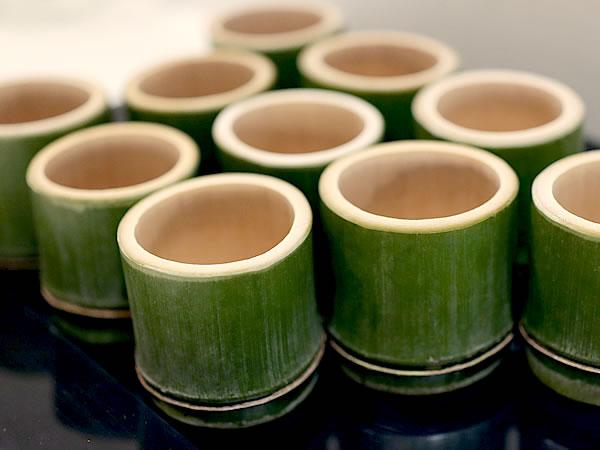 青竹酒器、青竹盃、フランス国内巡回展「日本の日常生活の中の竹」