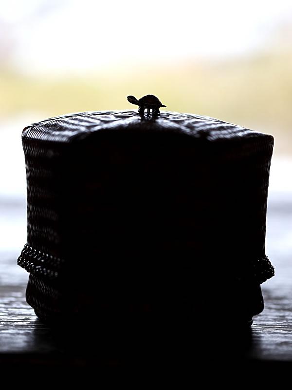 渡辺竹清作煤竹宝石箱、亀