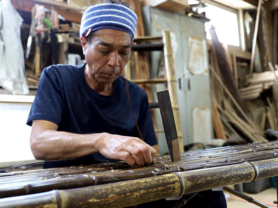 虎竹縁台、職人