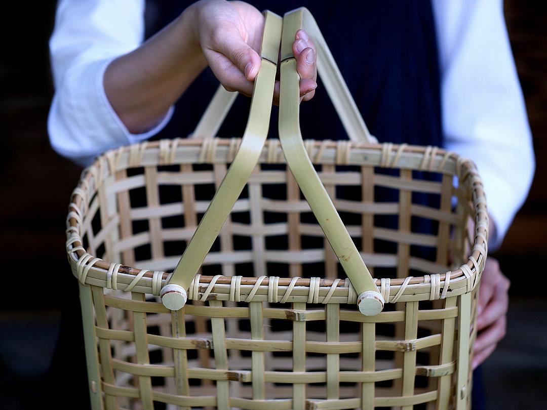 白竹粗四ツ目手提げ籠バッグ