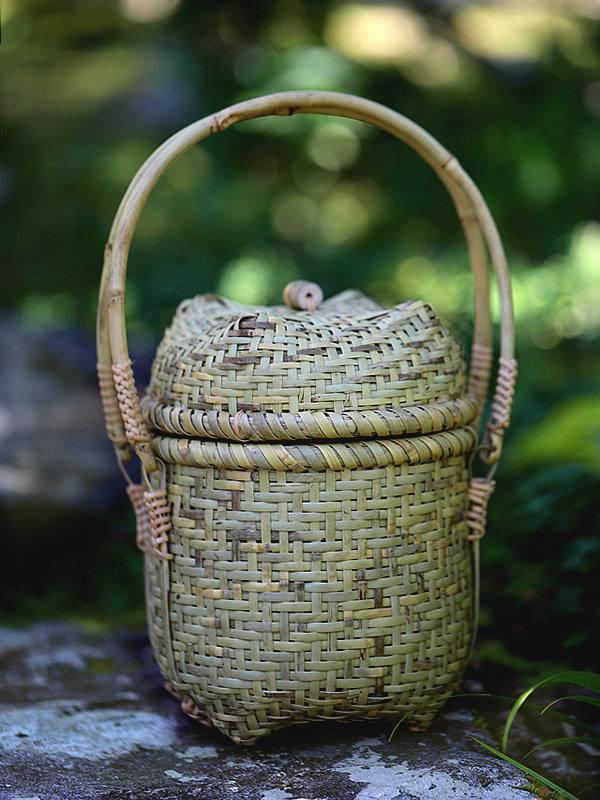 根曲竹蓋付き提籃ミニバッグ