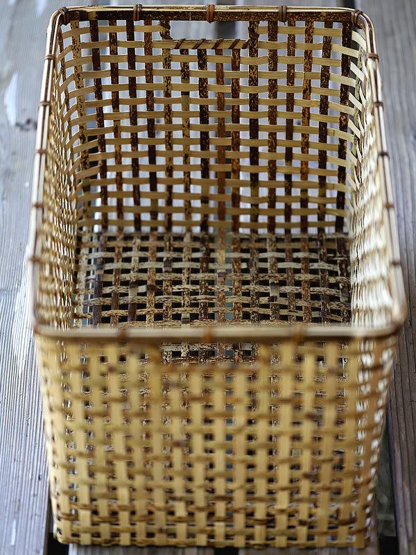 虎竹スクエアバスケット、竹籠