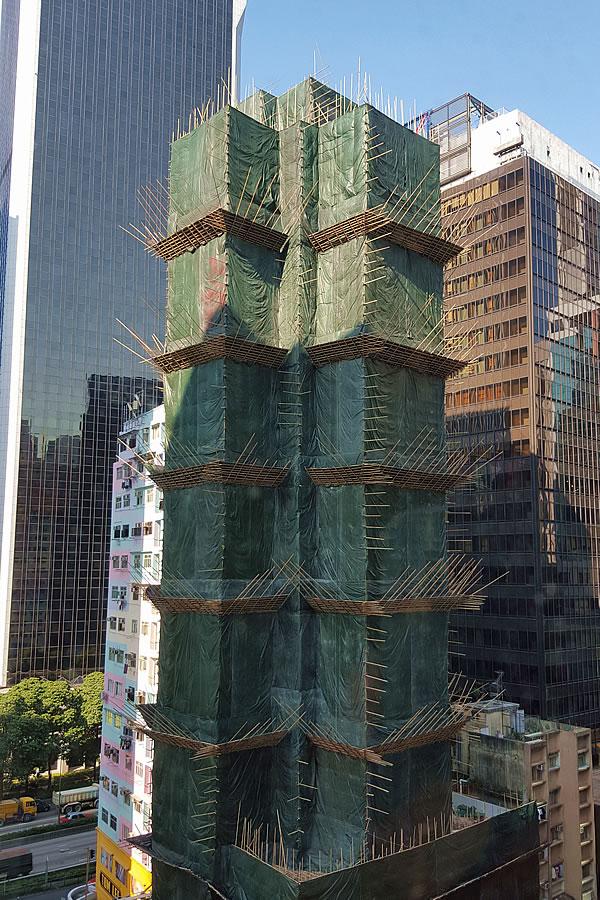 香港高層ビルの竹足場