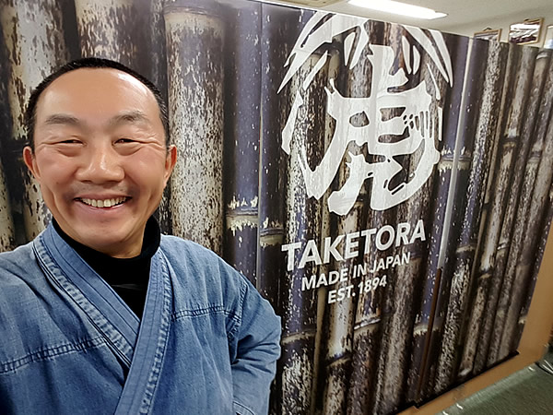 竹虎四代目(山岸義浩、YOSHIHIRO YAMAGISHI、TAKETORA)、ニューヨークのCOTERIE展示会バナー