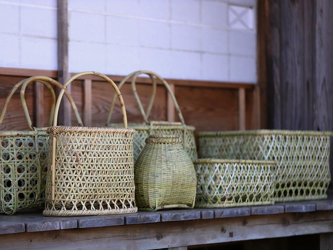 根曲竹籠、ざる、魚籠