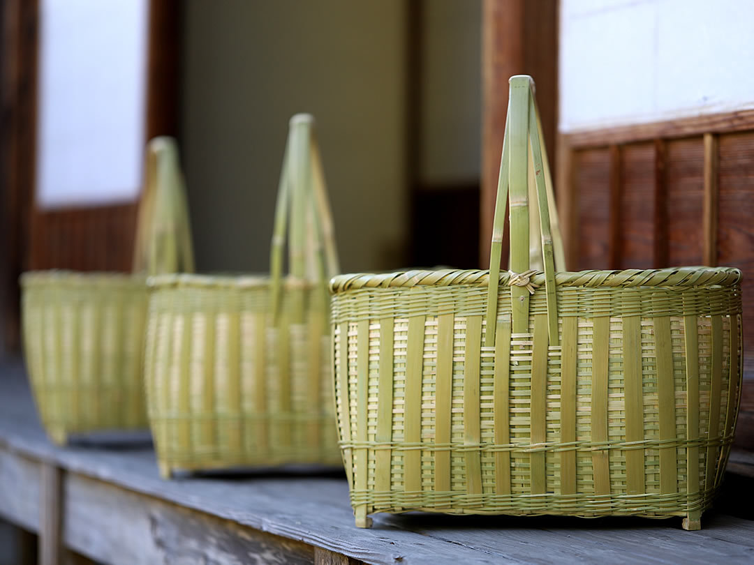 真竹磨き縦ヒゴ手提げ籠バッグ
