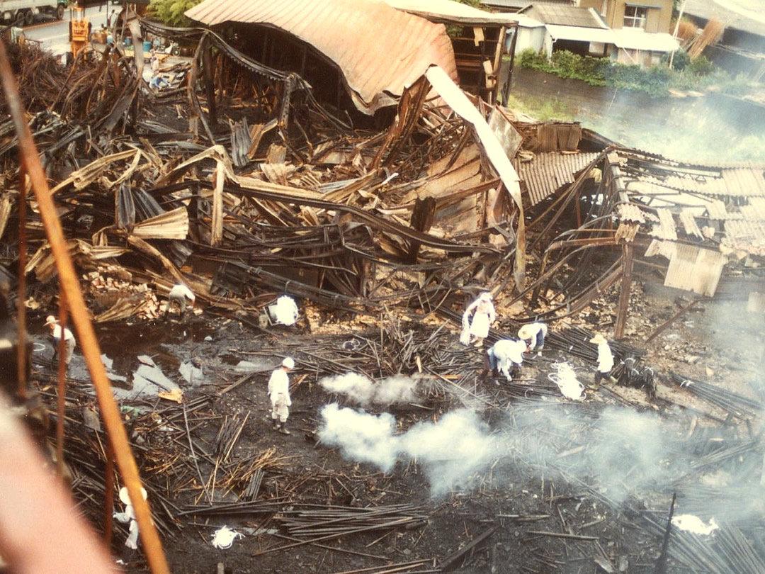 山岸竹材店の火災
