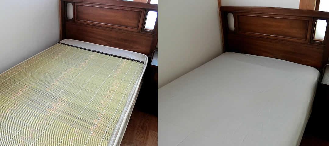 竹簾を高反発ベッドに使う