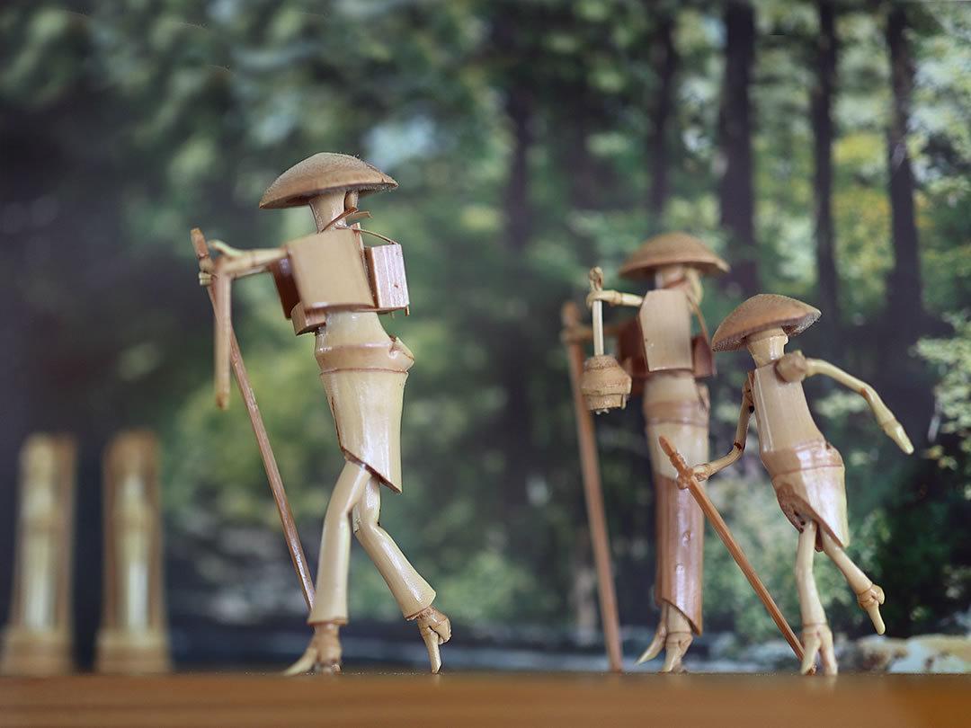 阿波踊り竹人形、お遍路さん