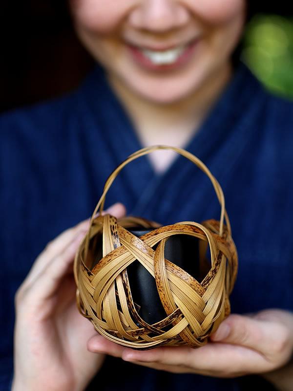 虎竹花籠、Tiger bamboo flower basket