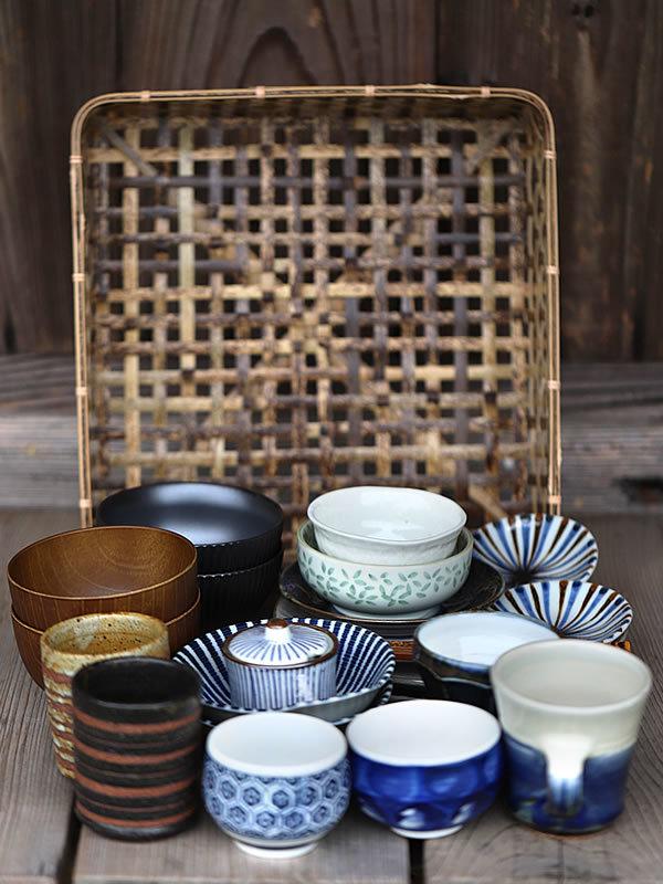 虎竹スクエア茶碗籠、食器