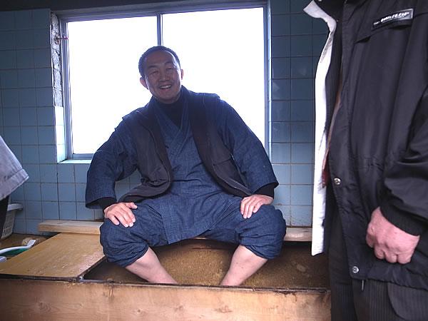 竹風呂入浴